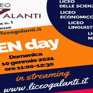 Open day in streaming del 10.01.2021